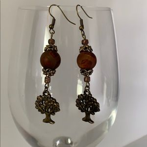 Round brown stone and bronze tree earrings